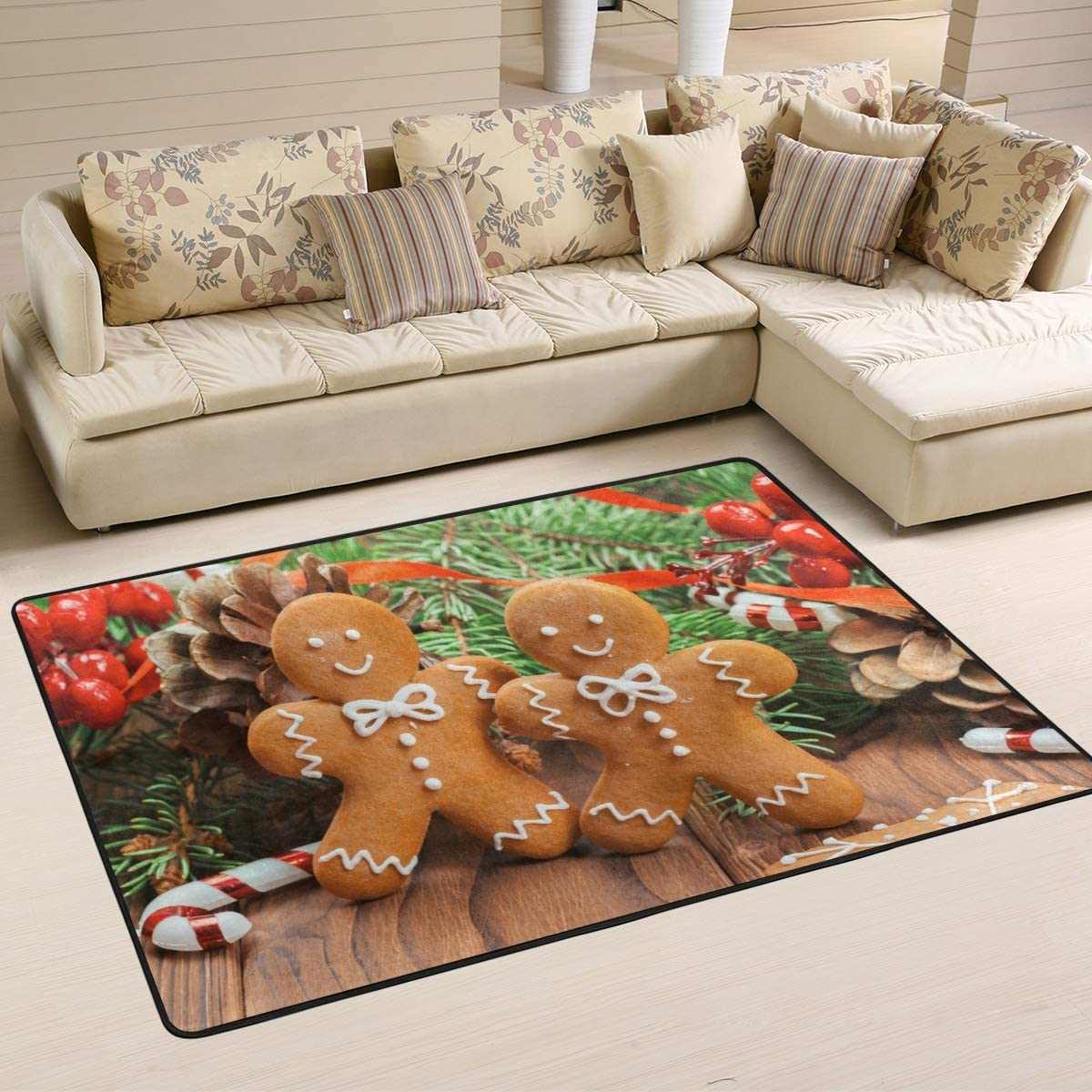 Wamika Christmas Gingerbread Man Cookies Doormat Wood Candy Indoor Outdoor Rug for Kitchen Living Room Bedroom Outside Patio Inside Entry Way, 6 x 4