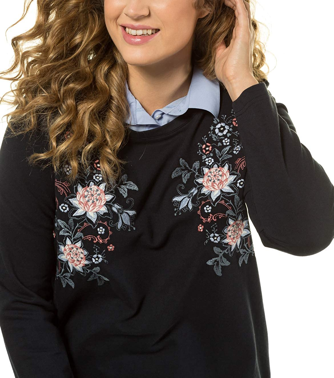 ULLA POPKEN Sweatshirt Hemdblusen Einsatz Stickerei Felpa Donna