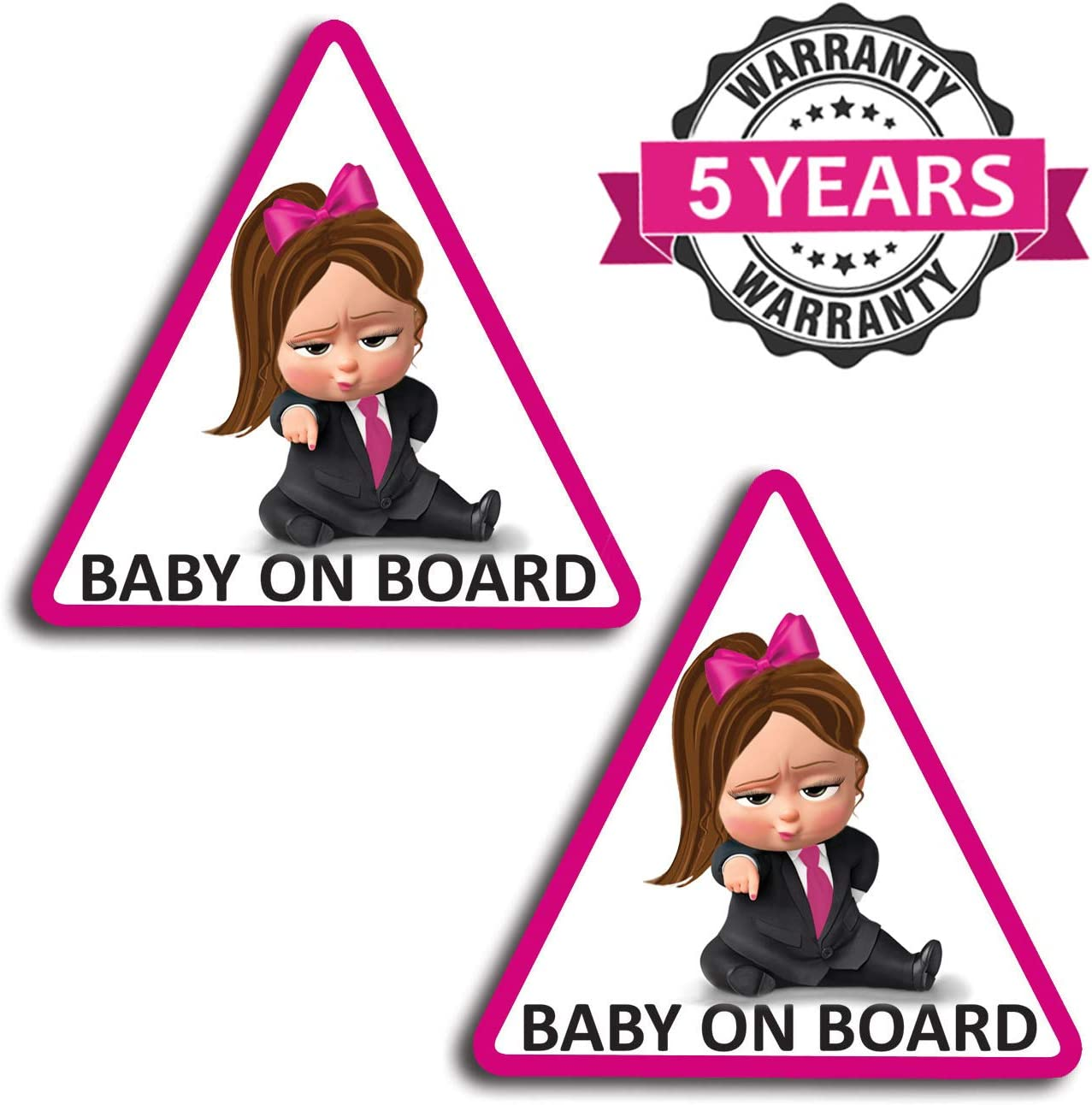 2 x Vinyl Self-Adhesive Funny Stickers Baby on Board Girl Boss Decal Car Window Auto B 166