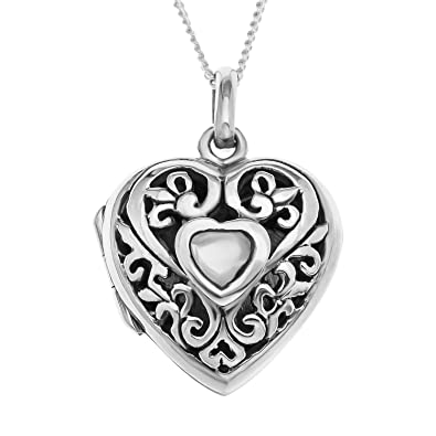Ornami sterling silver filigree heart locket containing mother of ornami sterling silver filigree heart locket containing mother of pearl central heart with 46 cm chain mozeypictures Choice Image