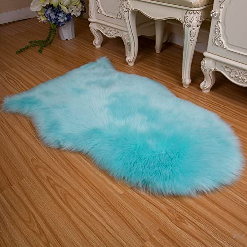 ZZKPTS Faux Fur Sheepskin Area Rug Chair Couch Cover Sofa Seat Pad Plain Shaggy Floor Area Rugs Soft Carpet Mat