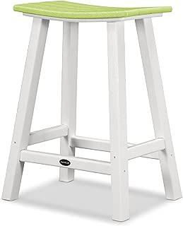 "product image for POLYWOOD 2011-FWHLI Contempo 24"" Saddle Bar Stool, White/Lime"