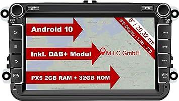 MIC AV8V6-lite Android 10 Radio de Coche Sistema de navegación: Radio Digital Dab + Bluetooth 5.0 WiFi 8