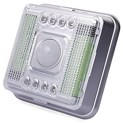 Xcellent Global Lámpara con detector de movimiento inalámbrico, 8 bombillas LED diurna/nocturna