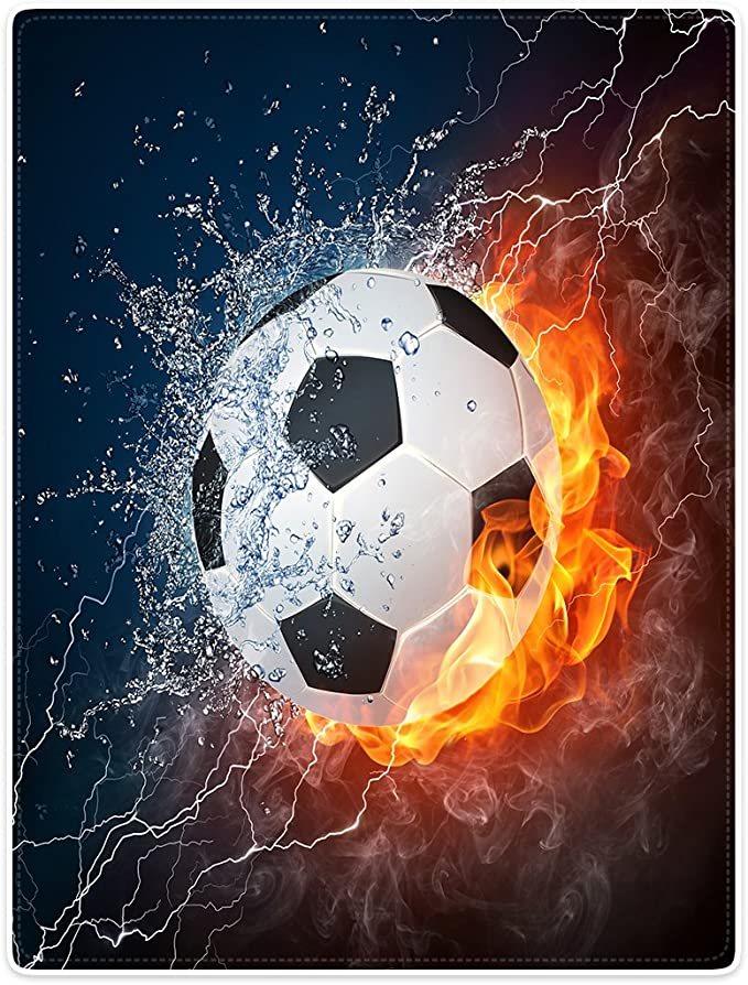 Plaid yisumei Couvertures Douceur souple Couverture polaire jet/é de lit flanelle Football flamme 125x200 cm Polyester Wei/ß