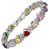 Jewellery Round Cut Multi Color Gemstones Fine CZ 18K White gold Plated [18cm/7inch] Tennis Bracelet Simple Modern Elegance Prong Setting [Free Jewelry Pouch]