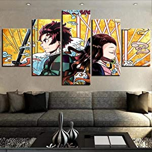 Prints Wall Art 5 Panels Modern Prints Demon Slayer 5 Piece Canvas Contemporary Waterproof Artwork Picture Wall Decor