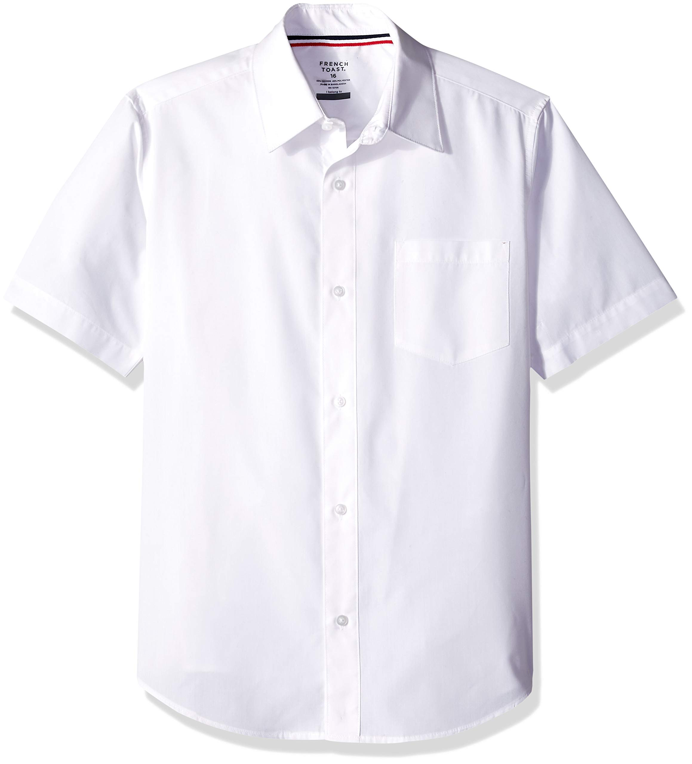 French Toast School Uniform Boys Short Sleeve Classic Dress Shirt, White, 10 Husky by French Toast (Image #1)
