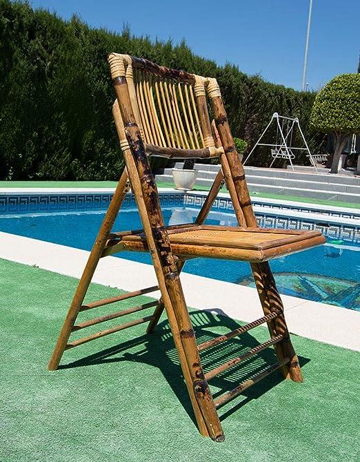 Silla bambú plegable. Silla de bambú con cojín incluido ...