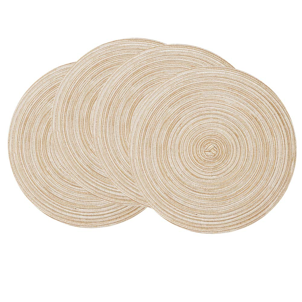 SHACOS Round Braided Placemats Set of 4 Round Table Mats for Dining Tables (Beige, 4)