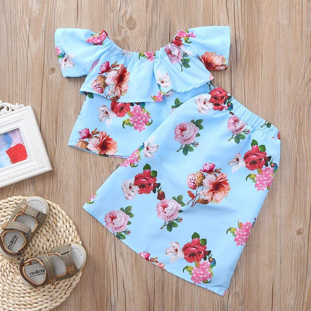 Lurryly 2Pcs Toddler Baby Girls Off Shoulder Floral Print Tops+Shorts Skirt Set 1-5 T