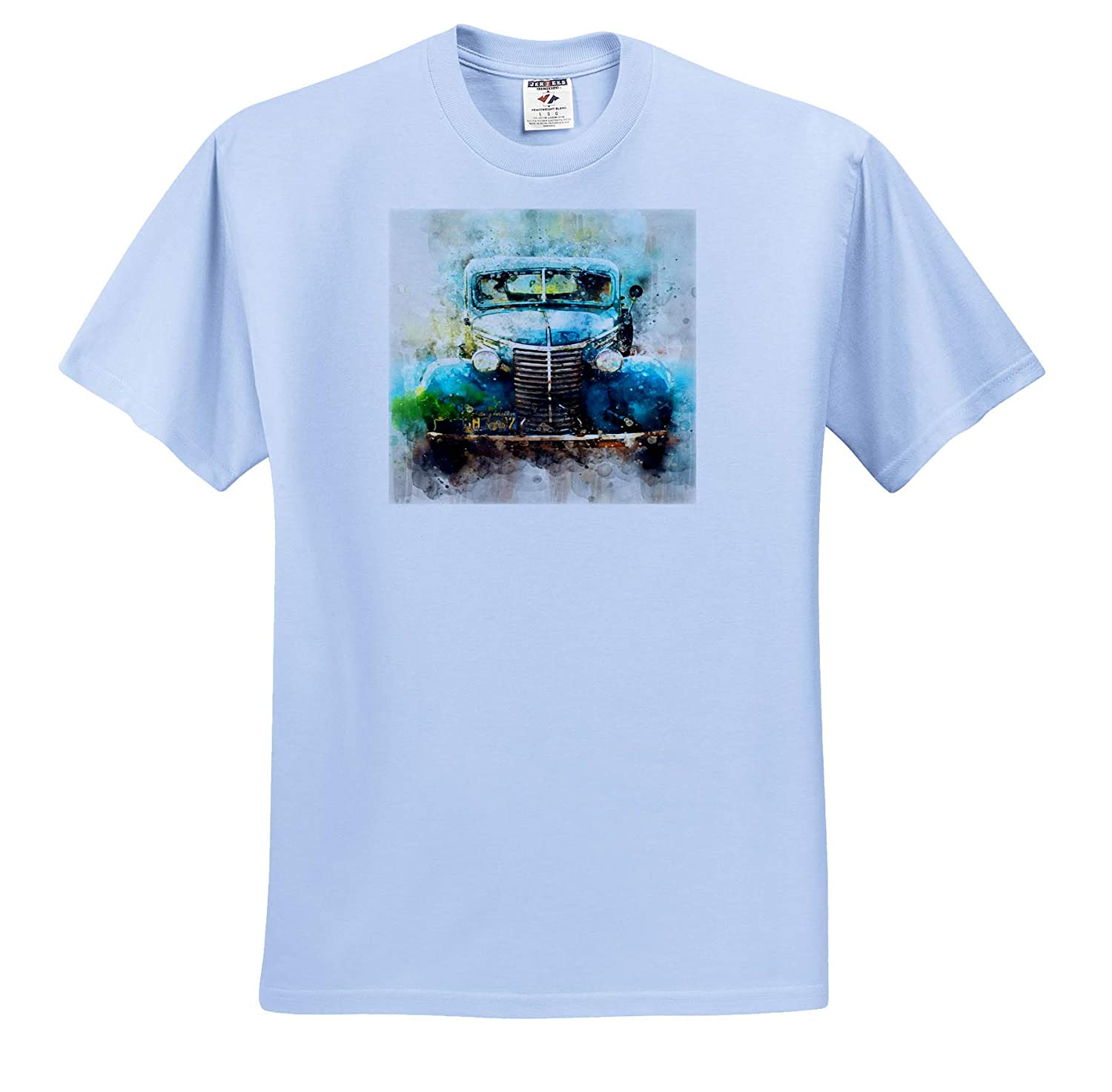 Image of Antique Car in Turquoise Watercolor 3dRose Lens Art by Florene Watercolor Art T-Shirts