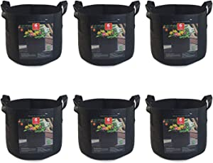 KGHIVAL - 6Pack 5 Gallon Eco-Friendly Nonwoven Fabric Plant Grow Bags, Recycled Felt Garden Planter Grow Bags for Home and Farm, Thickened Nonwoven Fabric Pots with Heavy Duty Handles