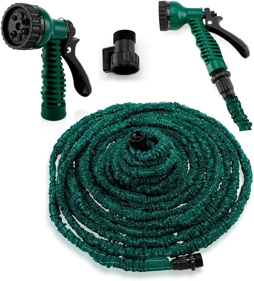 GEARONIC TM Expandable Garden Hose, Flexible Stronger Deluxe Garden Water Hose w/Spray Nozzle - 100ft Army Green