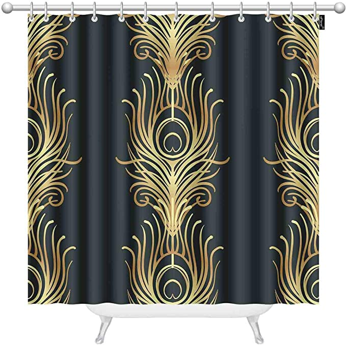 Amazon Com Ofloral Art Deco Style Geometric Black And Gold Shower Curtains For Bathroom Jazz Era Inspired 20 S Polyester Waterproof Shower Curtain With Hooks 72 X 72 Inch Home Kitchen