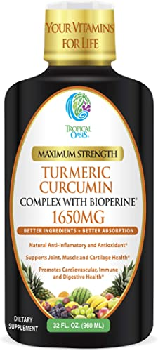 Liquid Turmeric Curcumin w Bioperine 1650mg Maximum Strength Highest Potency of Turmeric, Black Pepper Vitamin C Anti-Inflammatory, Joint Support Pain Relief 98 Absorption Rate 32 Serv