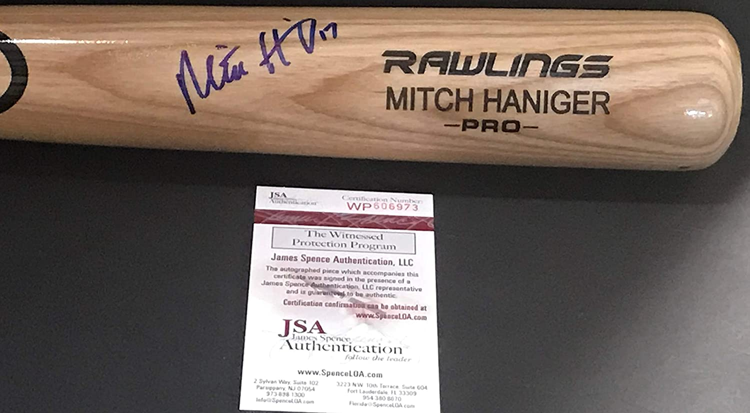 Mitch Haniger Seattle Mariners Autographed Signed Blonde Baseball Bat JSA WITNESS COA