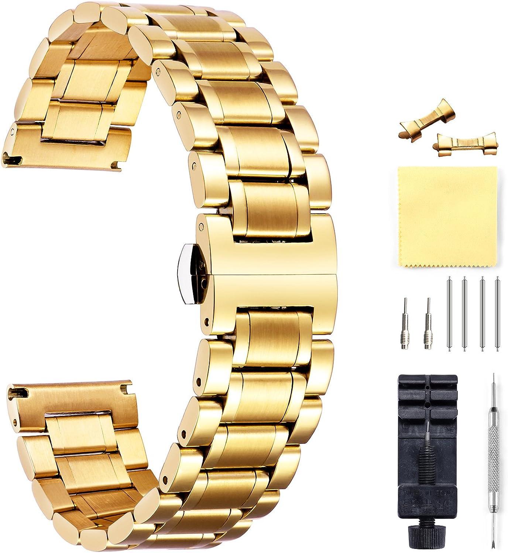 BINLUN CorreasDe Reloj Acero Inoxidable con Extremo Recto Y Curvado (Oro, Plata, Negro, Oro Rosa, Oro Y Plata De Dos Tonos) -12mm,14mm,16mm,18mm,19mm,20mm,21mm,22mm,24mm