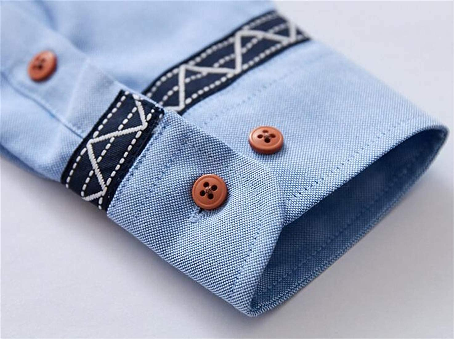Nanquan Men Patchwork Slim Long Sleeve Horizontal Stripes Button Down Flannel Shirts