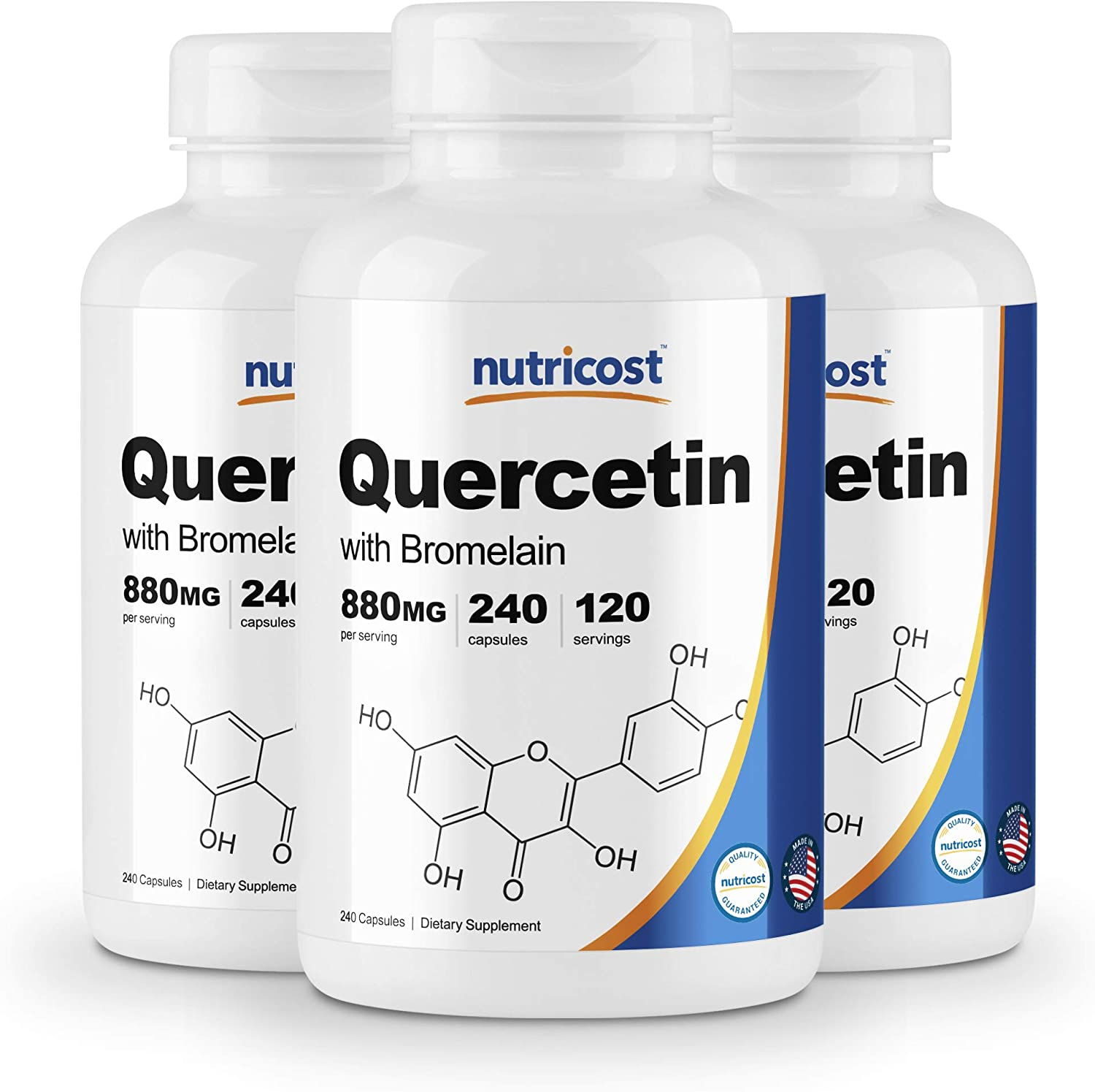 Nutricost Quercetin 880mg, 240 Caps with Bromelain 3 Bottles