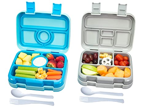 a33500708ce1 Bizz Travel Bento Box Set Lunch Boxes with Utensils, Removable  Microwaveable, Dishwasher Safe Tray (2-Pack) Lunchbox Portable Portion  Control Meal ...