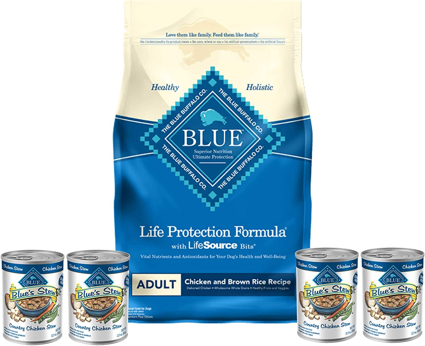 Blue Dry Dog Food Life Protection Formula Natural Adult Chicken and Brown Rice 15 lb Bag 4 cans Country Chicken Stew 12.5 oz Plus 1 Lid to Reseal Canned Food
