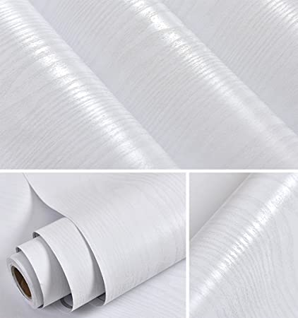 Bon Faux White Wood Grain Contact Paper Self Adhesive Film Decorative Shelf  Liner Roll Creative Covering For