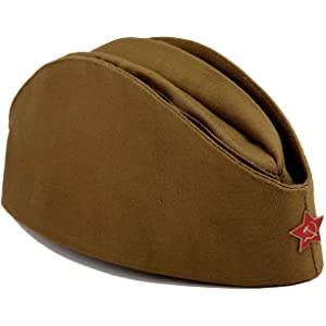 7424ff5fcf1 Amazon.com  USSR Military WW2 Side Cap Soviet Hat Pilotka Khaki ...