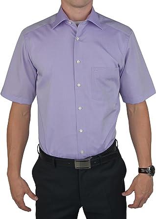 OLYMP - Camisa casual - Básico - Cuello kent - manga 3/4 - para hombre lila 40: Amazon.es: Ropa y accesorios