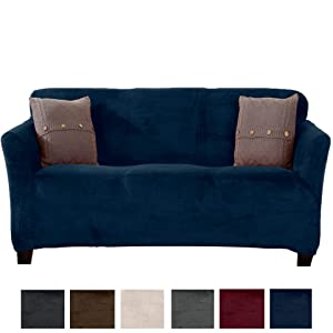 Great Bay Home Modern Velvet Plush Strapless Slipcover. Form Fit Stretch, Stylish Furniture Cover/Protector. Gale Collection Brand. (Sofa, Dark Denim Blue)
