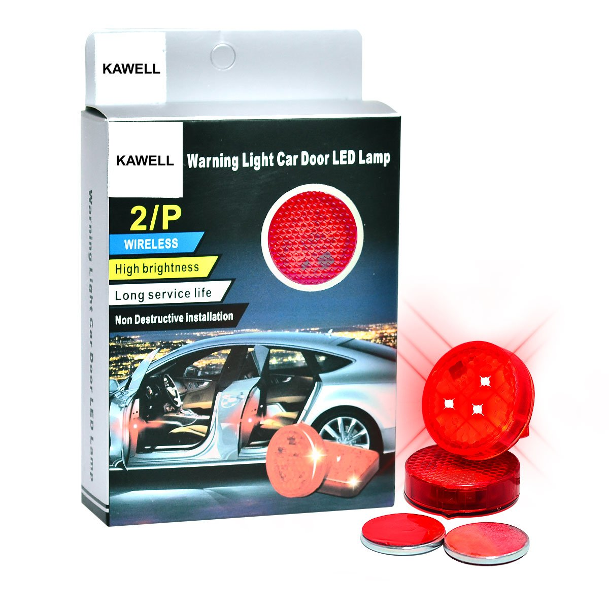 KAWELL Car Door Safety Warning Light Reflector, Intelligent Magnetic Sensor Switch On/ Off, Red LED Strobe Flicker for Rear-end Anti Collision,No Wiring, Waterproof. (round, red)