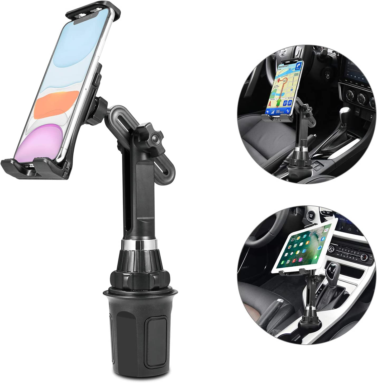Upgraded Car Cup Holder Phone Mount Adjustable Automobile Cup Holder Cell Phone Cradle Car Mount Compatible for iPad 11 Pro//XR//XS Max//X//8//7 Plus//6s//Samsung S10+//Note 9//S8 Plus//S7 Edge