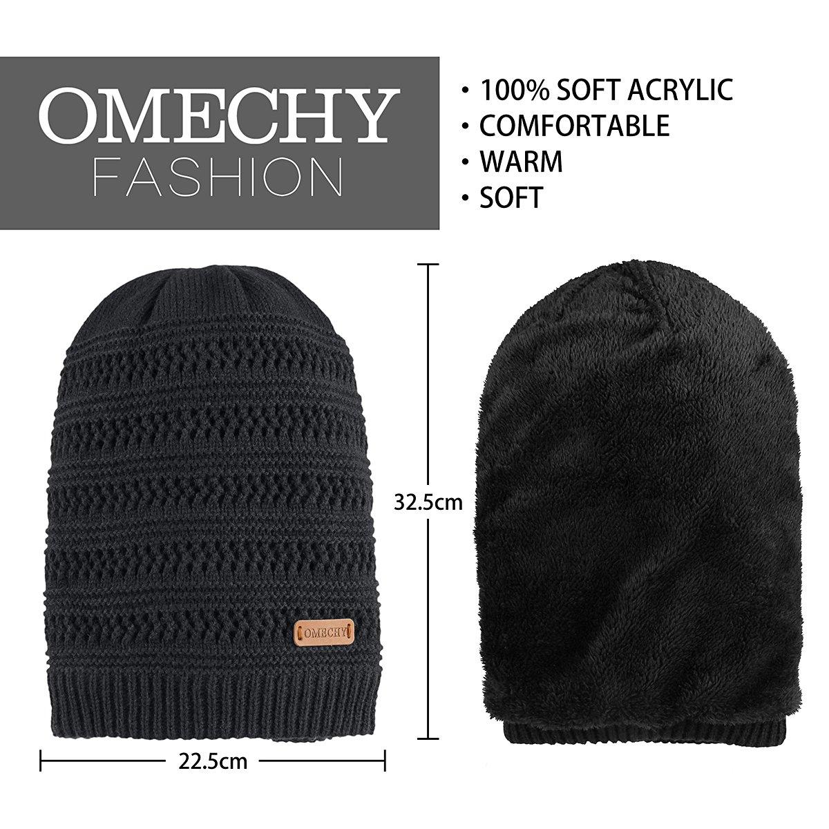 9cfb1fc1620 OMECHY Unisex Slouchy Beanie Hats Winter Warm Knit Skull Fleece Ski Cap ...