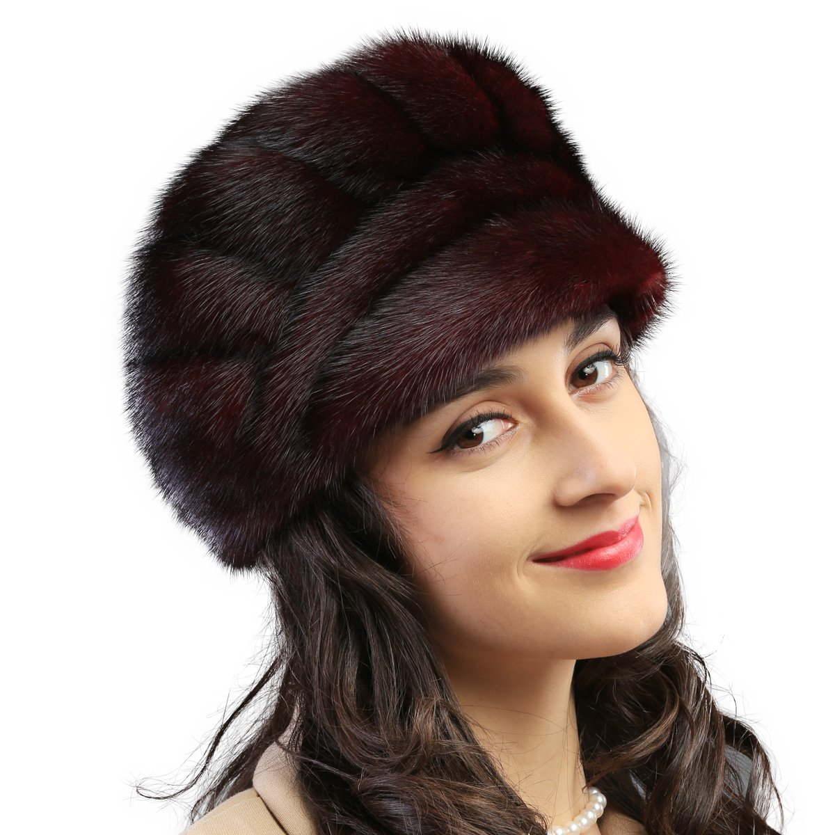 Mandy's Women's Winter Warm Ear Muff Rex Mink Fur Caps Hats (one size(21''-23''), Coffee)