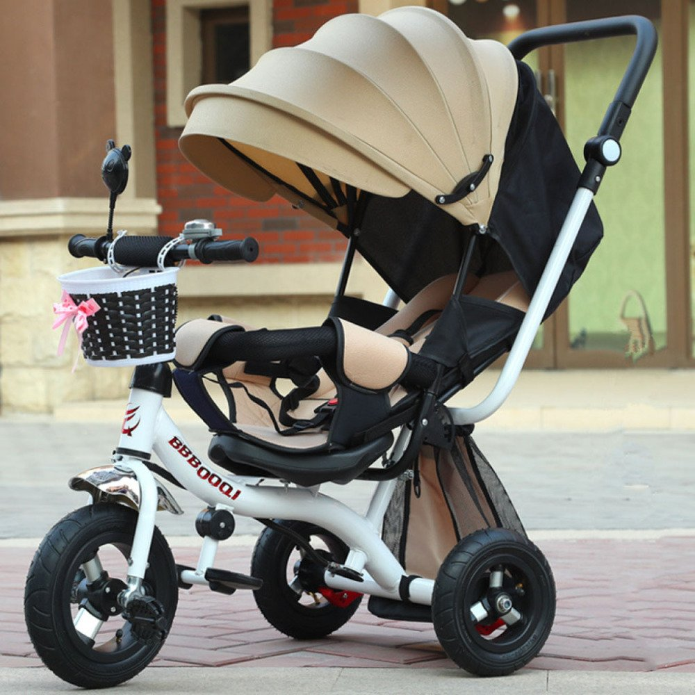Amazon.com: QXMEI Childrens Tricycle Baby Cart Young Childrens Car Girl Boy Riding Bicycle 1-2-3-5 Years Old With Awning,Beige: Home & Kitchen