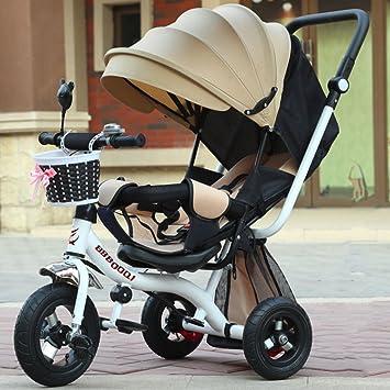 QXMEI Triciclos para Niños Carritos para Niños Carritos para Niños Niñas Niños Montar Bicicletas 1-2-3-5 Años con Toldos,Beige: Amazon.es: Hogar