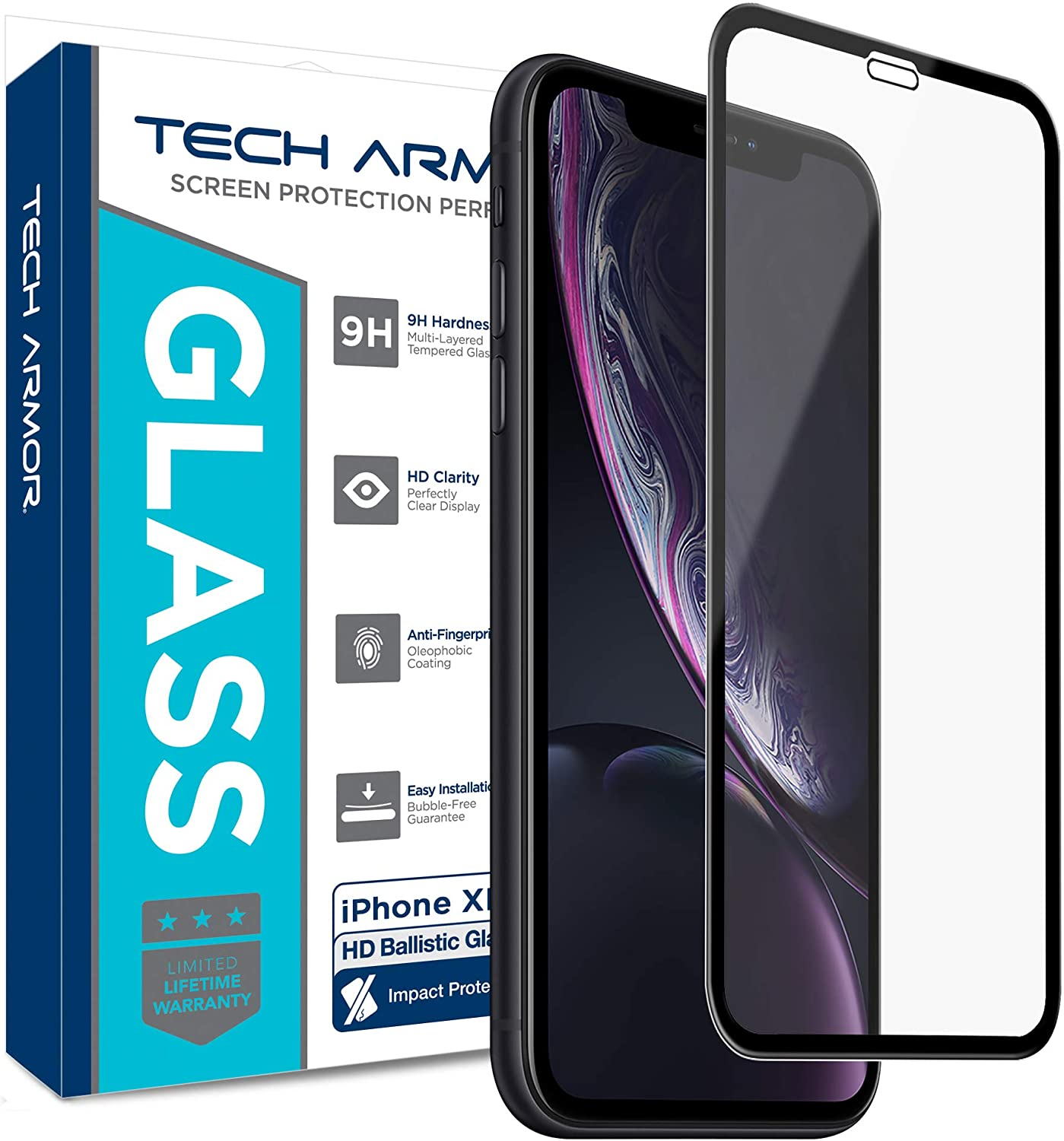 Tech Armor Edge to Edge Glass Screen Protector for New 2019 Apple iPhone 11 / iPhone Xr - Case-Friendly, Scratch Resistant, Haptic Touch Accurate (Black) [1-Pack]