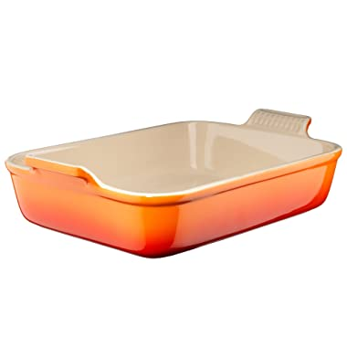 Le Creuset Heritage Stoneware 10-1/2-by-7-Inch Rectangular Dish, Flame