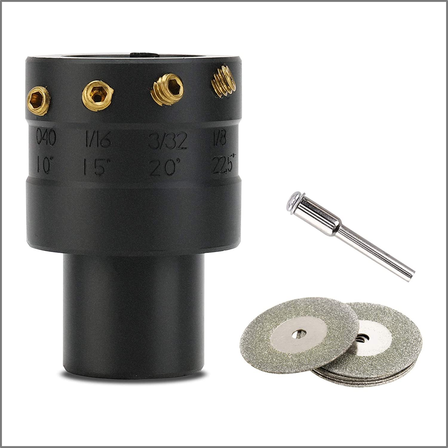 3mirrors TUNGSTEN ELECTRODE SHARPENER GRINDER TIG Welding Tool Cut-Off Port Multi-Angle /& Offsets 3//32 20/° 1//8 22.5/° 5X Diamond Wheel 1X Connecting Rod 1//16 15/° 0//40 10/°