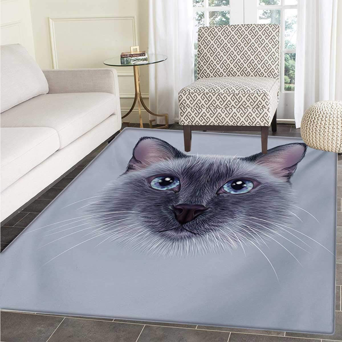 Animal Door Mats Area Rug Portrait Image Thai Siamese Cat Retro Style Lettering Artwork Floor mat Bath Mat tub 48''x71'' White Sky Blue Grey by Anhounine