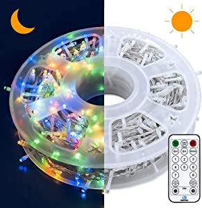 Oopswow Christmas Lights String Lights 500 LED 165FT 8 Modes Plug in Fairy Lights with Light Sensor and Timer for Home Garden Party Wedding Xmas Tree Bedroom Window Curtain Decoration,500L Multicolor