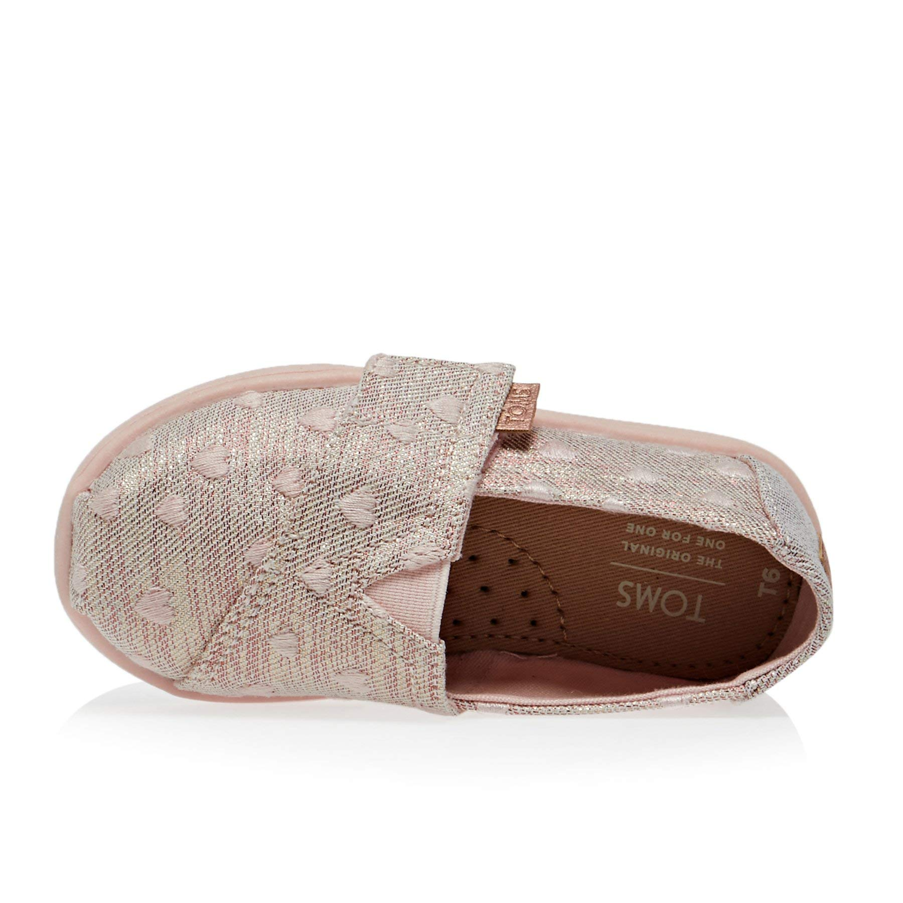 TOMS Kids Baby Girl's Alpargata (Toddler/Little Kid) Rose Cloud Heartsy Twill Glimmer Embroidery 11 M US Little Kid by TOMS Kids (Image #5)