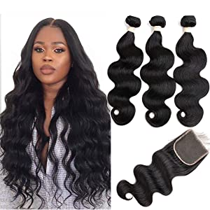 Beauhair Brazilian Body Wave Virgin Hair Bundles with Lace Closure(14 16 18 with14closure) Human Hair Unprocessed Body Wave Hair with Closure 4X4 Lace Free Part Natural Black Hair