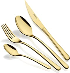 Monix Pisa Gold 24-Piece Cutlery Set, Polished Gold Finish, 18/10