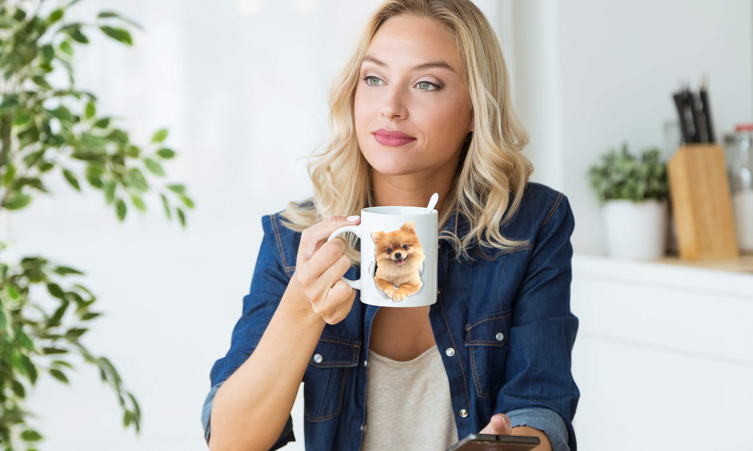 Cute Pomeranian Coffee Mug - German Spitz Ceramic Mug - Perfect Pomeranian Gifts for Dog Lover - Cute PomPom Cup for Pomeranian Mom and Dad - Great Birthday or Christmas Present for Dog Owner (11oz) 2