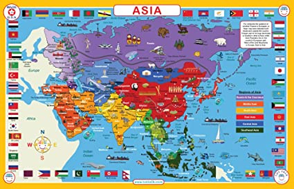 Asia Map Pics Amazon.com: Tot Talk Asia Map Educational Placemat for Kids