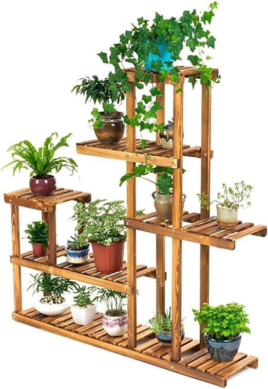 Jgfds Bastidores de Flores Estante de Escalera de Flores con 6 gradas, Soporte de Flores de Madera para Interior y Exterior, Multi-Tier para Oficina balcón: Amazon.es: Hogar