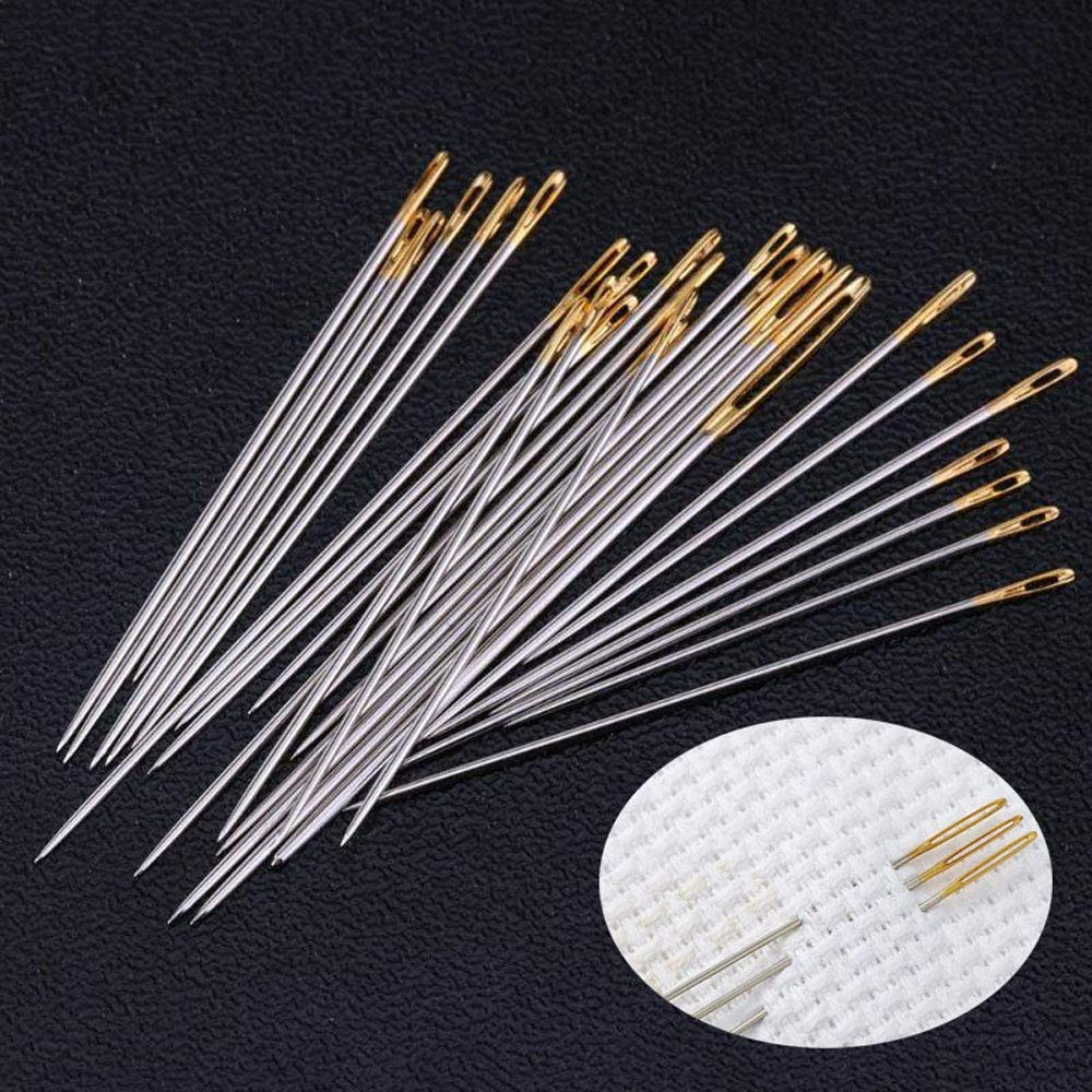 Hand Sewing Needles 30 PCS Assorted Needles Large-Eye Carbon Steel Needles with 2 Needle Threaders
