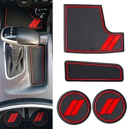 TIKSCIENCE Storage Bin Insert Trim Kit,Fit for 2015-2019 Dodge Charger,Non Slip Storage Bin Mat Set Including Front Center Console Insert,Shifter Insert,Cup Holder Inserts Trim