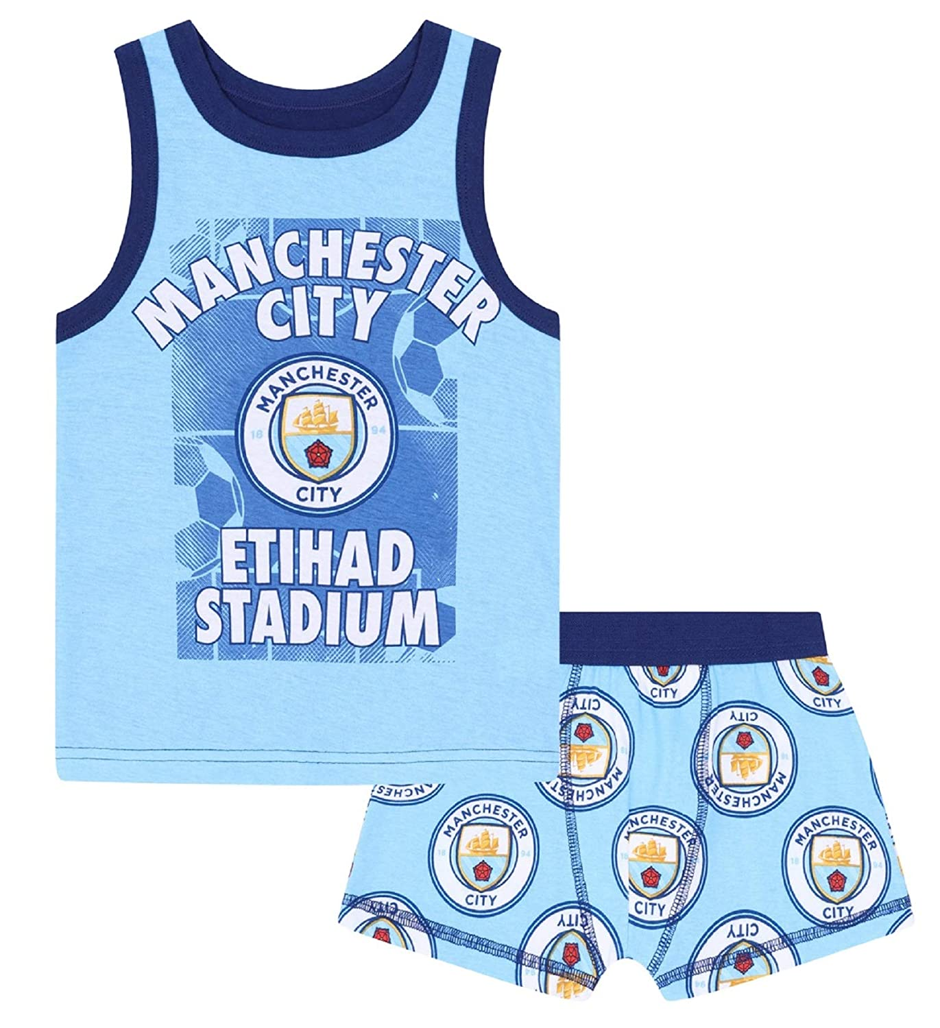 Manchester City FC Official Football Gift Boys Boxer Shorts & Vest Set